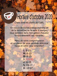 Horaire temporaire pour octobre 2020